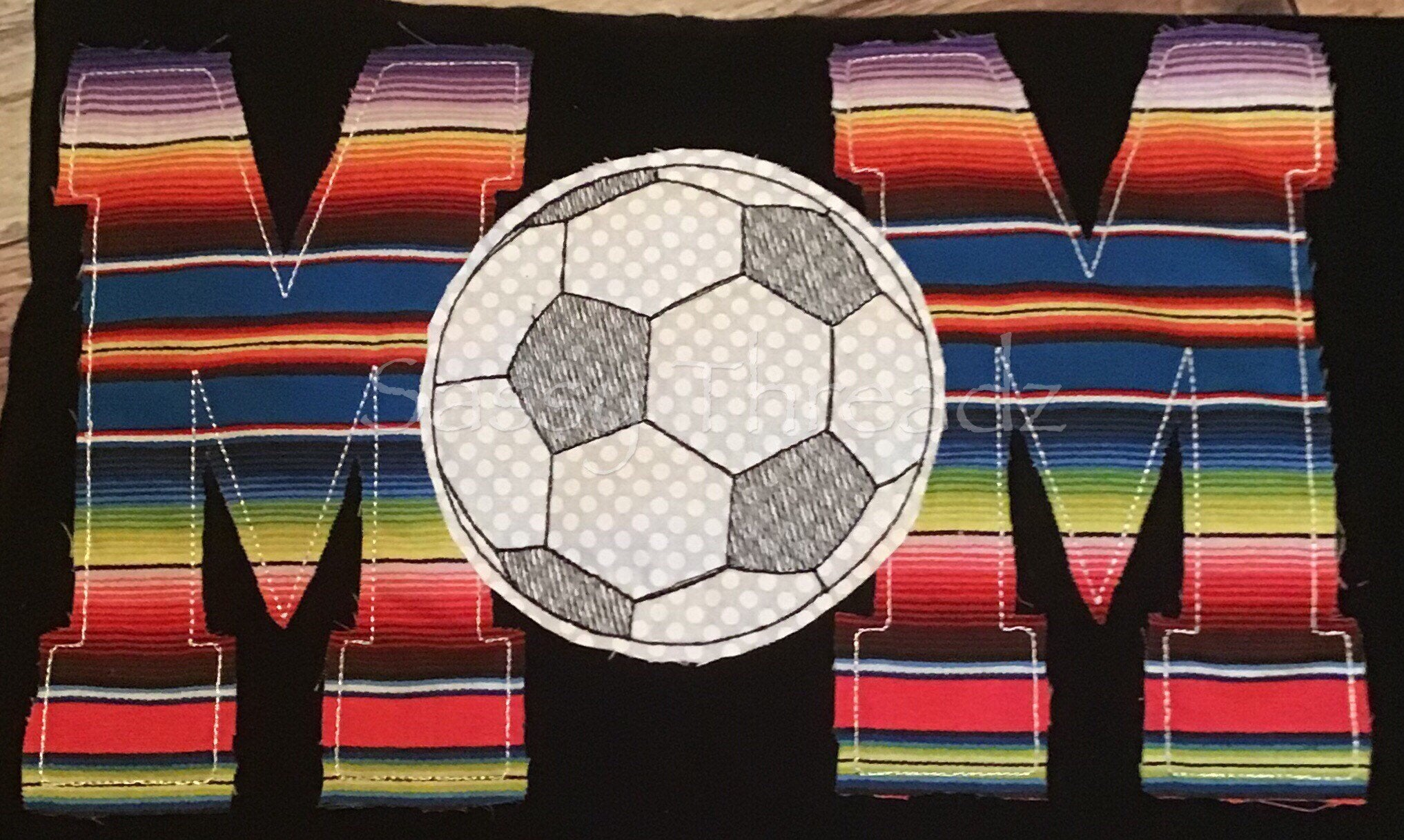 Serape Soccer Mom v-Neck Fabric Appliqué Tee