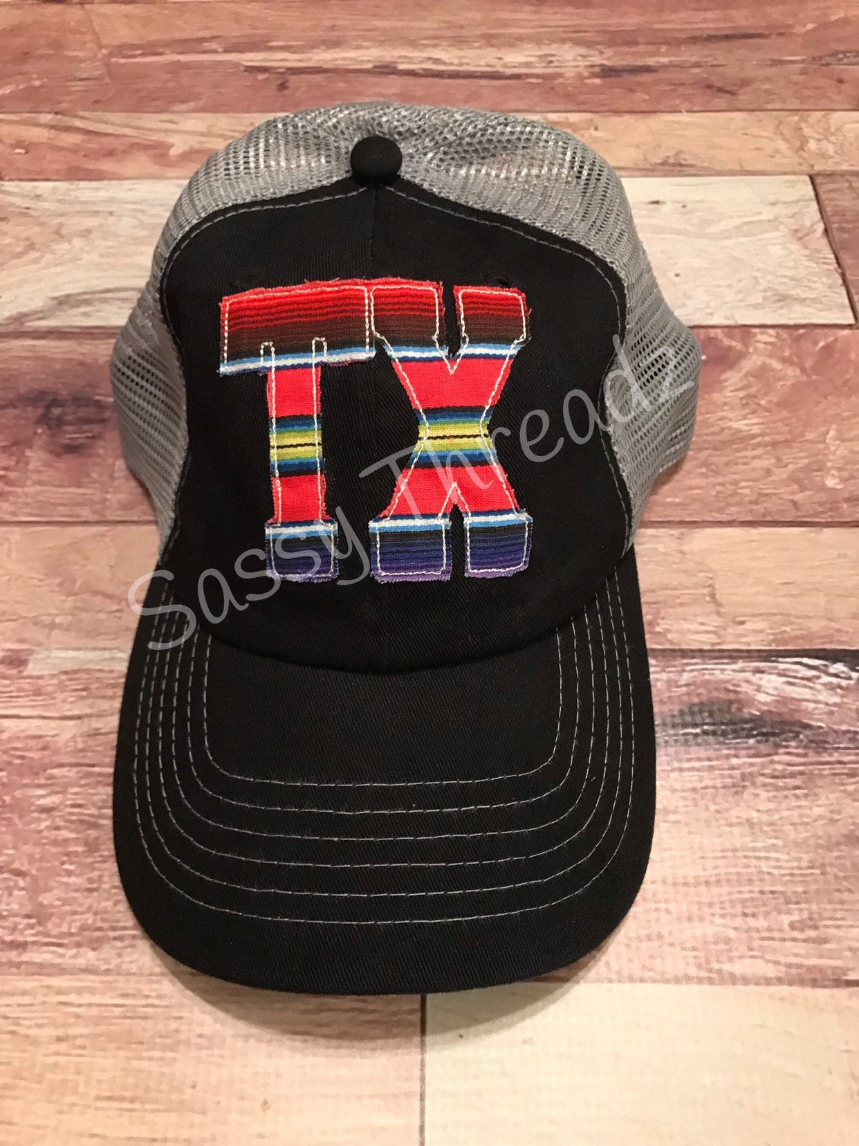 Serape Texas Fabric Sewn Applique Hat