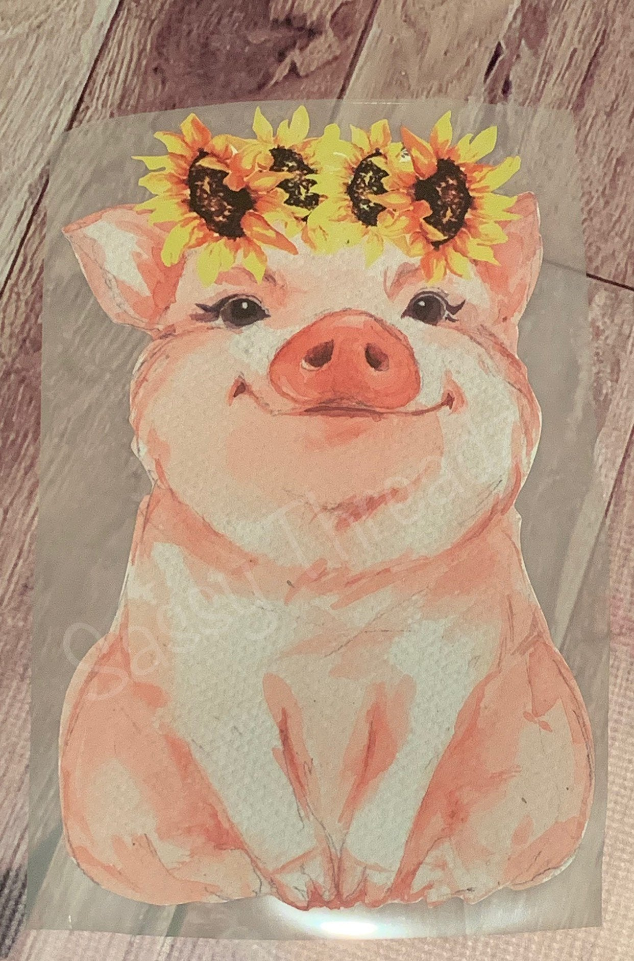 Watercolor Pig with Sunflowers HTV Transfer