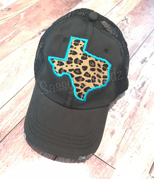 Leopard Texas Fabric Sewn Applique Hat