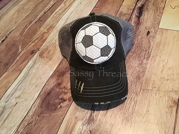 Soccer Trucker Fabric Sewn Applique Hat