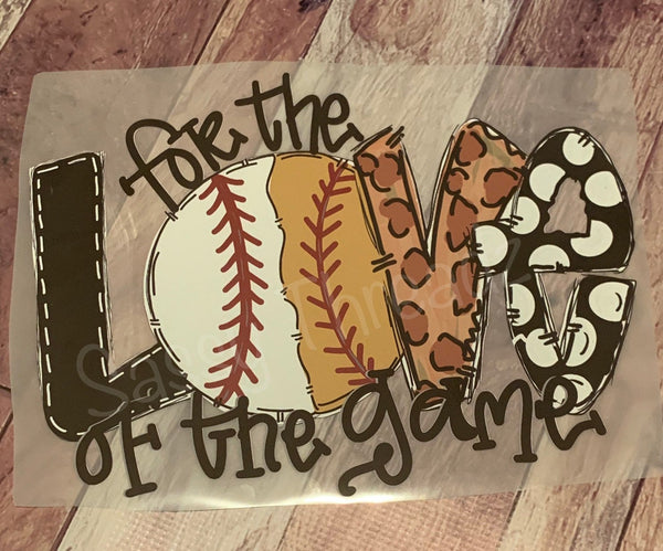 Baseball Softball Split For The Love Of The Game Heat  Transfer Vinyl