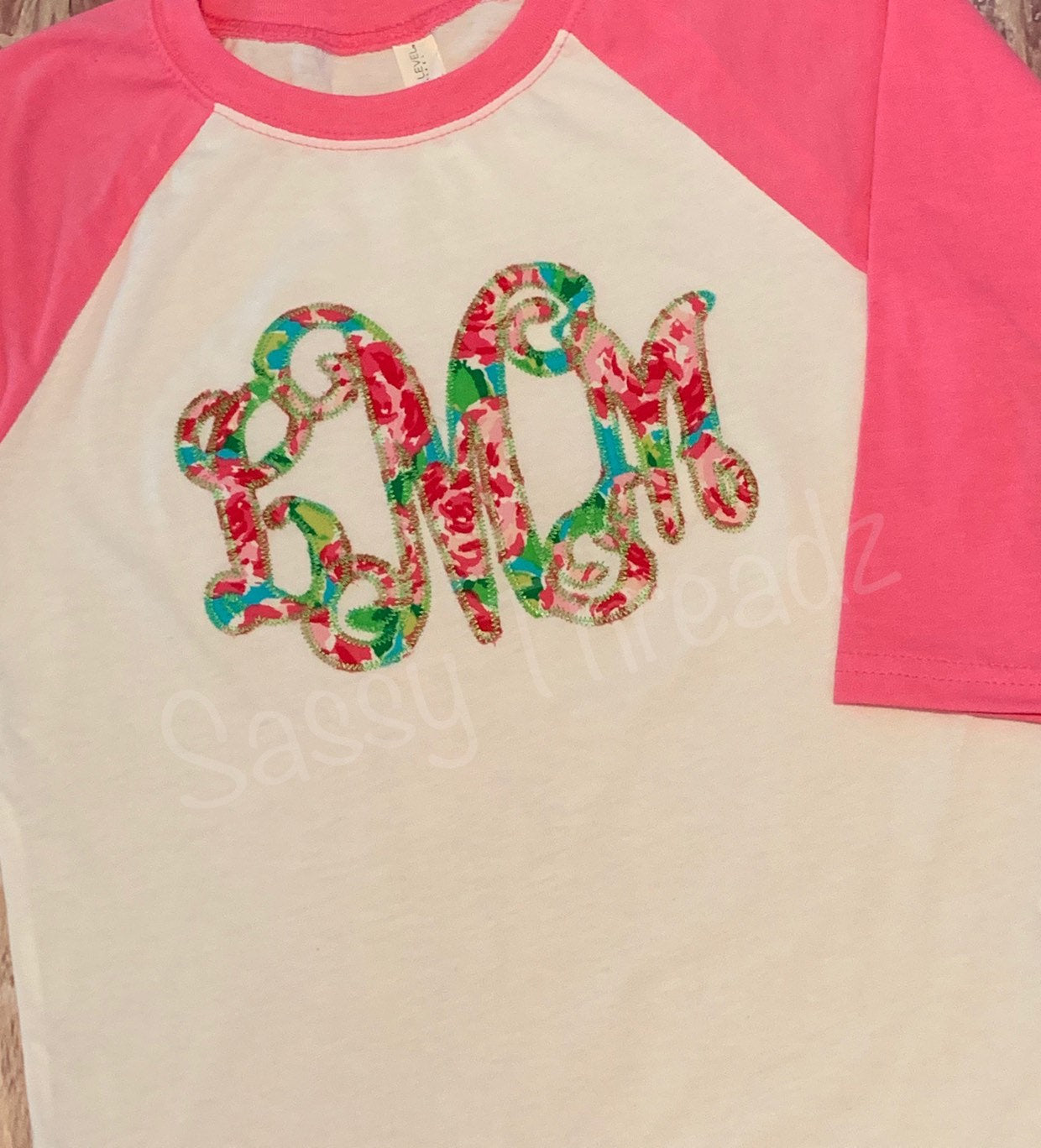Ladies and Youth Floral Monogram Applique Raglan
