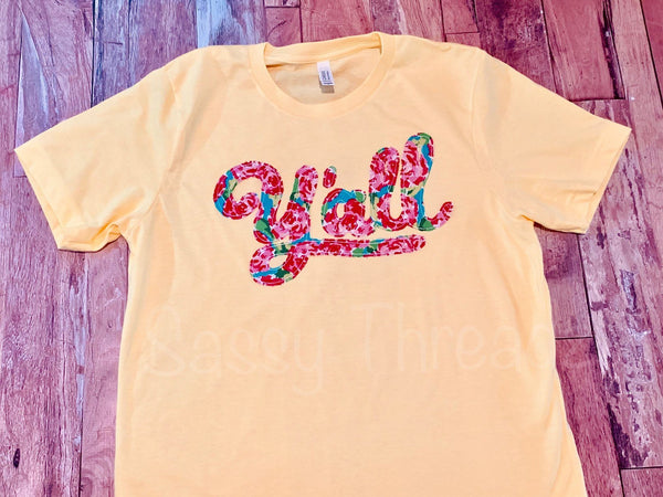 Y'all Floral Applique Fabric Crew Neck Tee