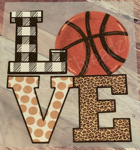 Love Basketball Leopard Plaid HTV Transfer
