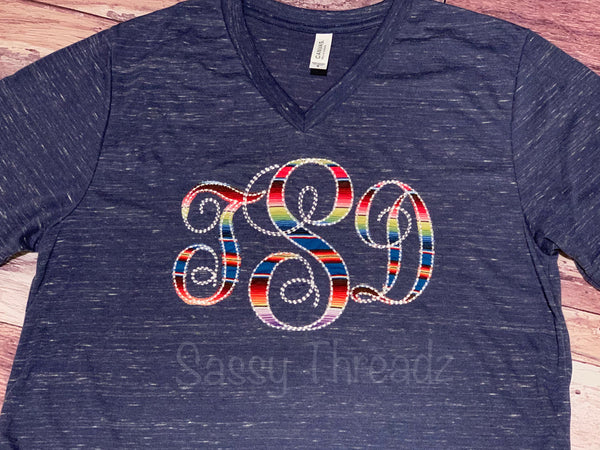 Monogram Serape V-Neck Appliqué Tee