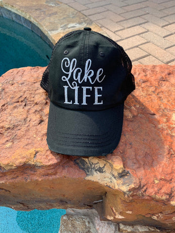 Lake Life Glitter Trucker Hat