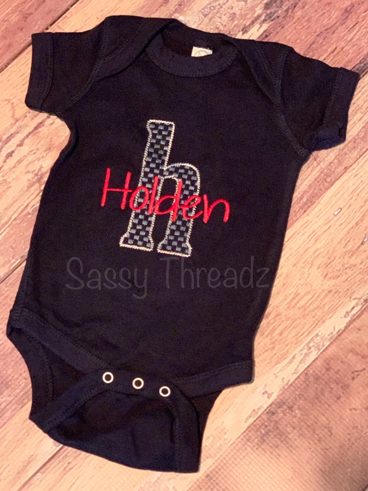 Infant Custom Letter with Name Onesie bodysuit