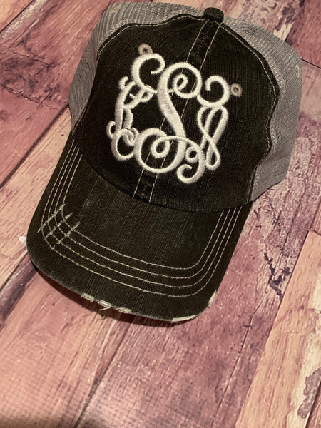 Monogram Trucker Hat/Embrodiery Fancy Vine Cursive