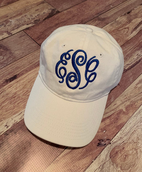 White Monogram Embroidery Hat