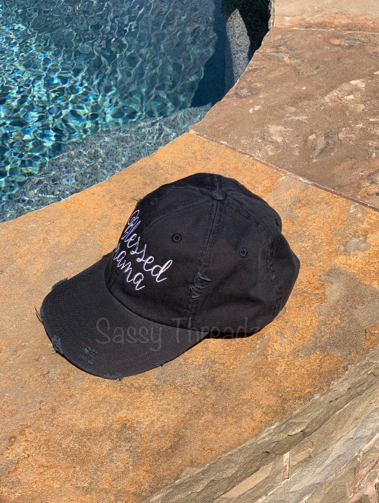 Blessed Mama Black Distressed Hat