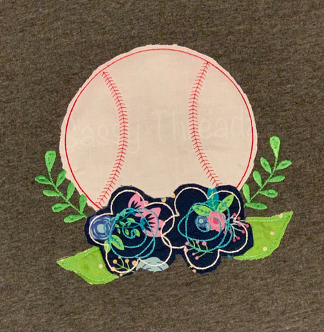 Baseball with Flowers baseball mom ladies Appliqué Tee