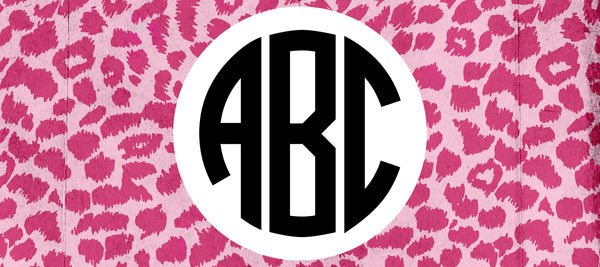 Pink Leopard Monogram Camp Decal.Girls Camp Trunk. Summer Camp Gear.