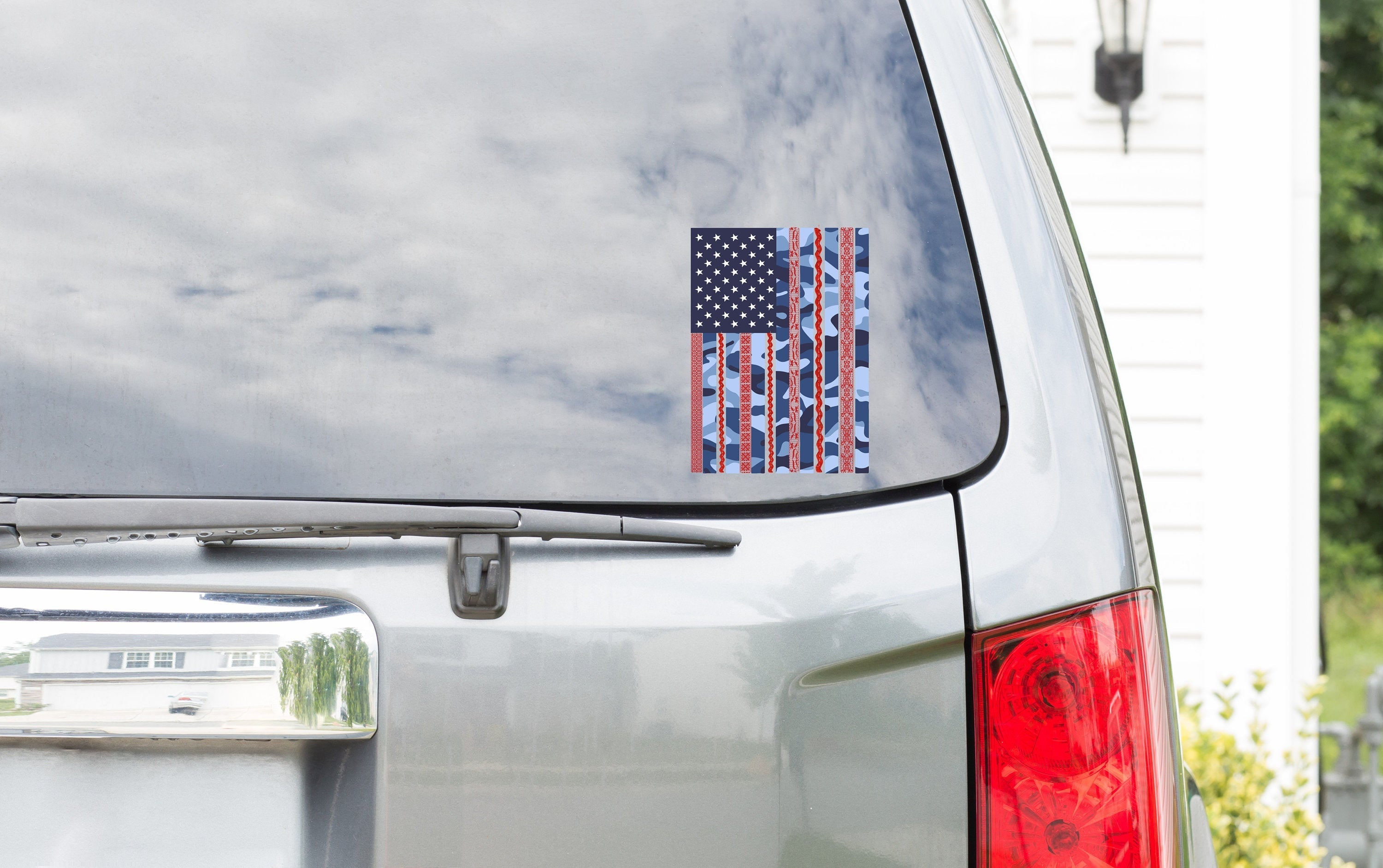 USA Flag Window Sticker Decal Custom Printed Outdoor Adhesive Vinyl
