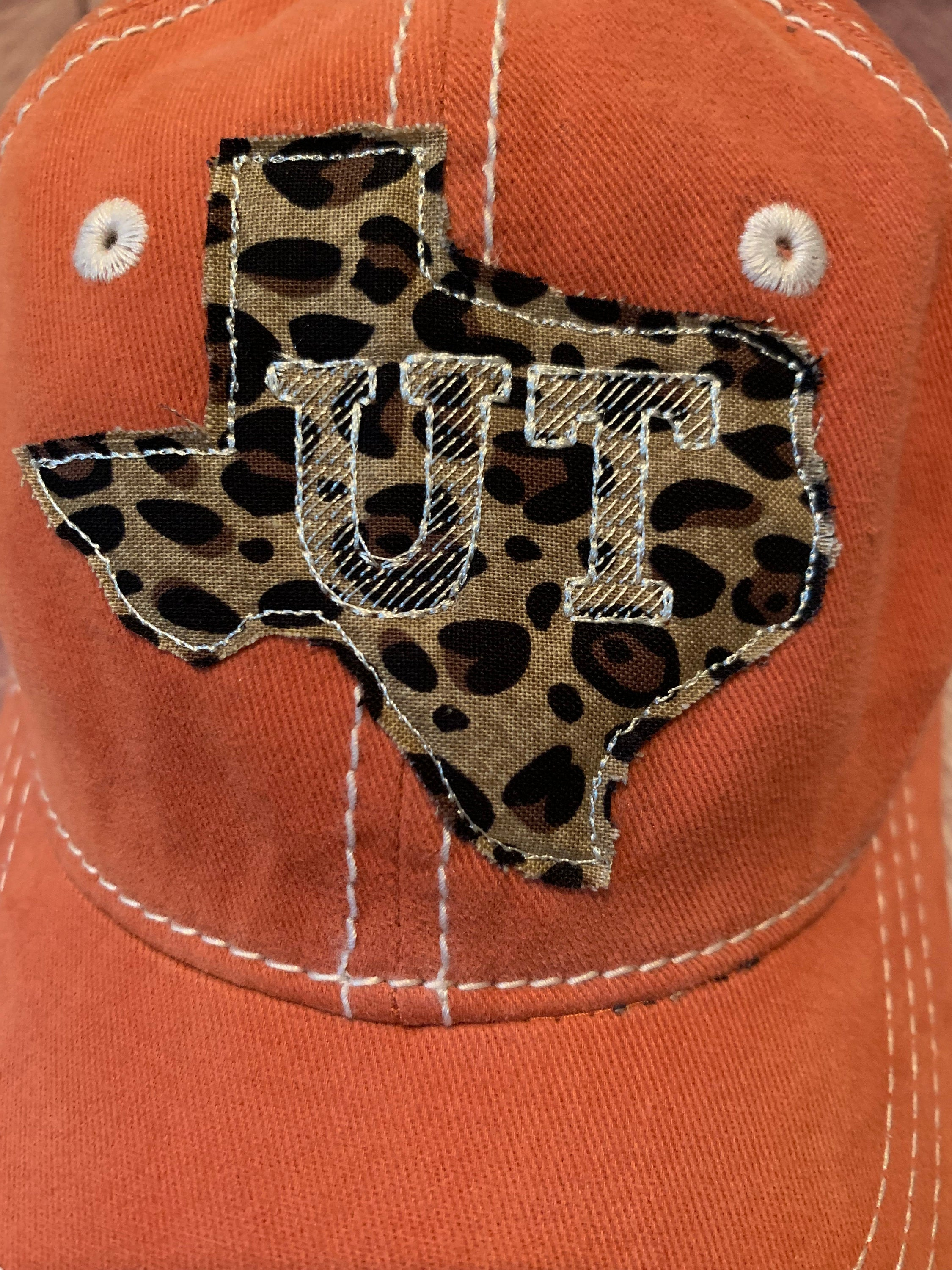 Leopard UT Texas Sewn Applique Hat