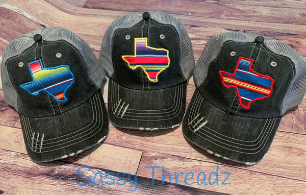 Serape Texas State Applique Fabric Hat Mesh Back Trucker