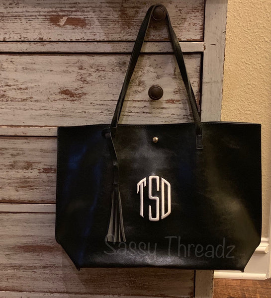 Monogrammed Vegan Leather Tote Purse with Tassel