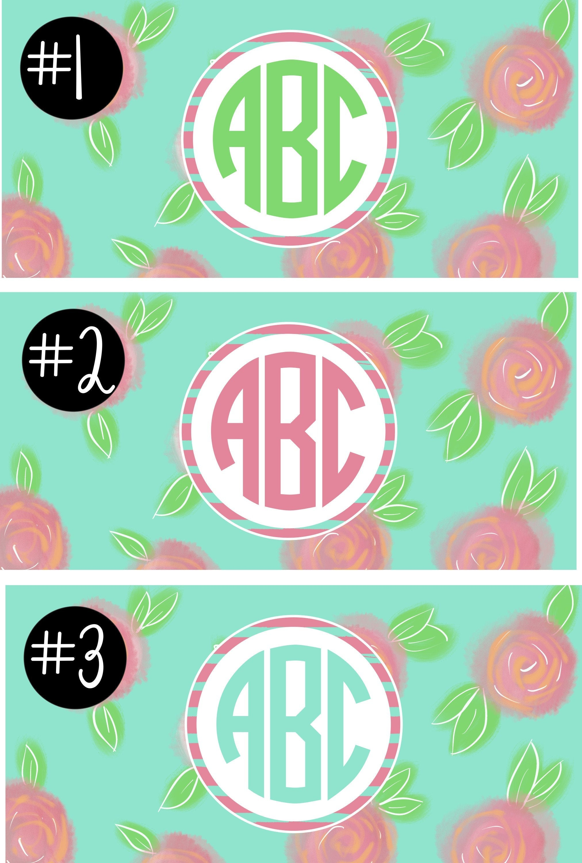 Lily Pulitzer Inspired Mint Camp Monogram Decal.Girls Camp Trunk. Summer Camp Gear.