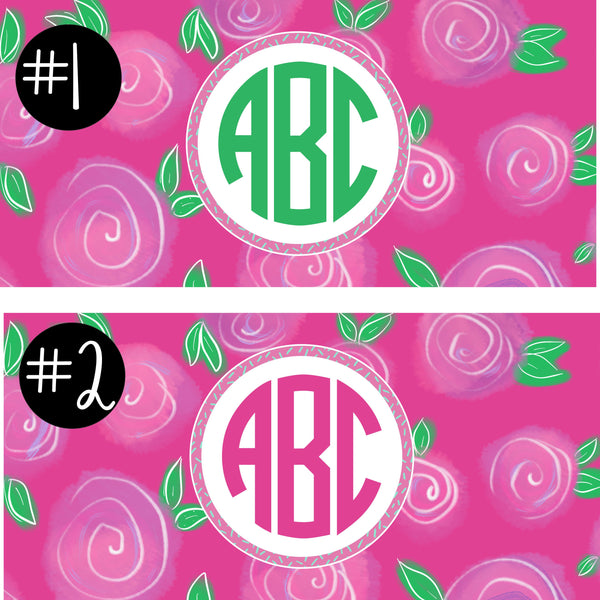Lily Pulitzer Inspired Pink Camp Monogram Decal.Girls Camp Trunk. Summer Camp Gear.