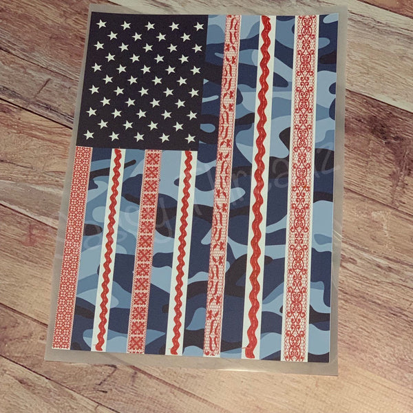 USA American Flag Camo Lace Heat Transfer Vinyl HTV
