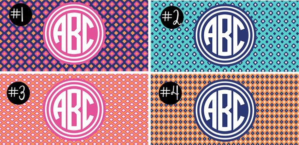 Ikat Print Camp Monogram Decal.Girls Camp Trunk. Summer Camp Gear.