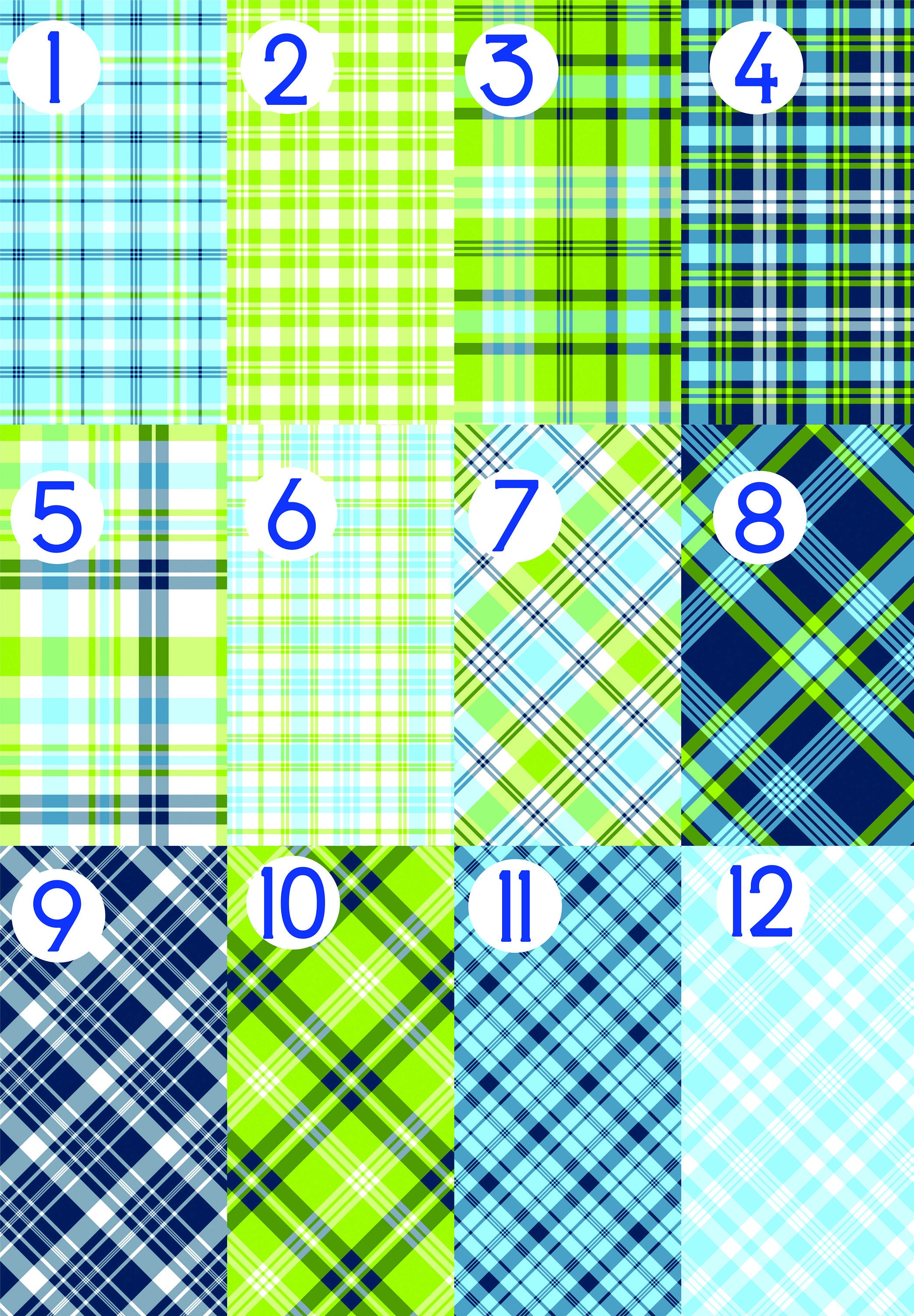 Plaid Heat Transfer Vinyl HTV Blue Lime Green