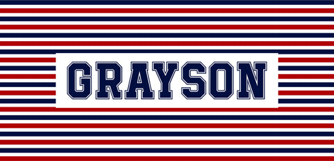 Boys Striped Camp Decal.Boys Camp Trunk. Summer Camp Gear.
