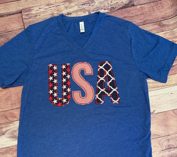 USA Patriotic 4th of July Ladies Appliqué Bella Canvas unisex fit V-neck cute gift