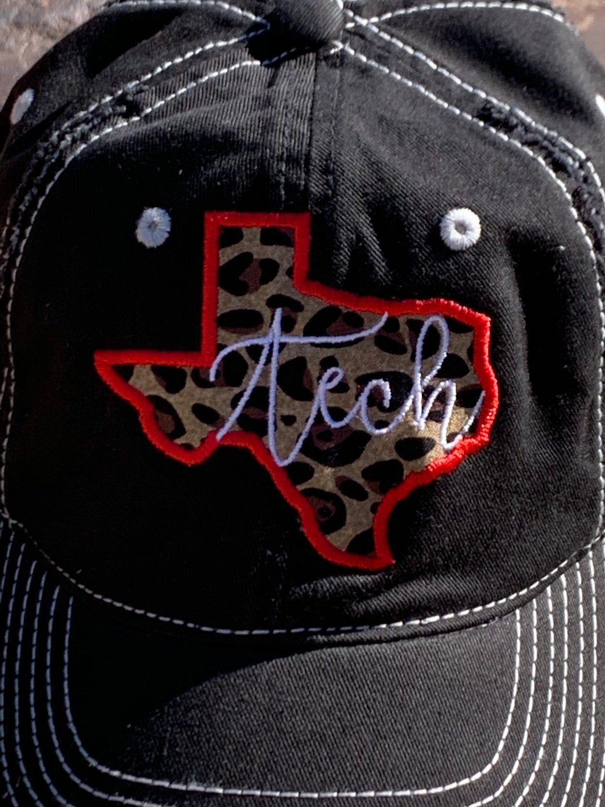 Leopard Texas Tech Red Raider Wreck 'Em Sewn Applique Hat