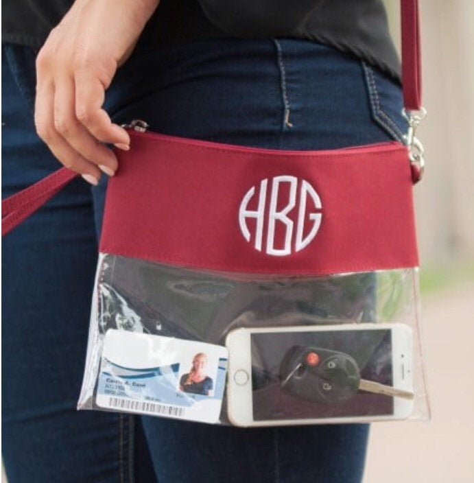 Monogrammed Stadium Approved Clear Crossbody Wristlet Purse