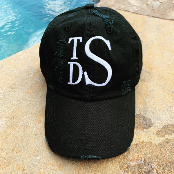Stacked Monogram Distressed Hat