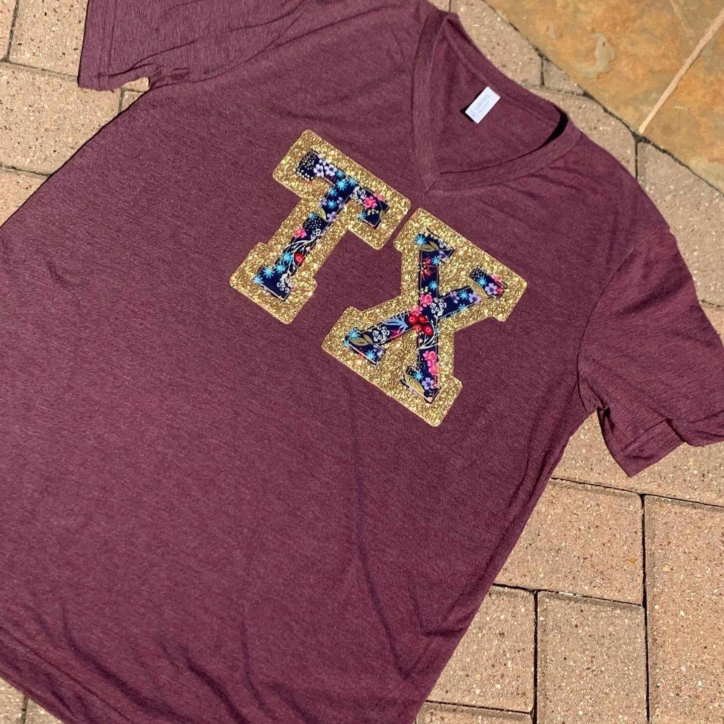Glitter and Fabric Texas TX Any State Abbreviation V- Neck Tee
