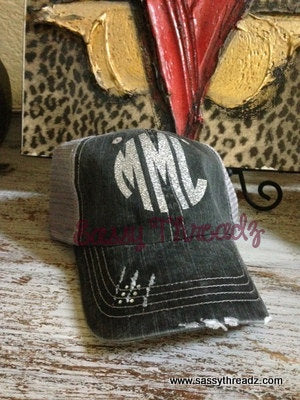 Monogram Silver Glitter Distressed Trucker Hat gifts for her cute custom gift cap bride