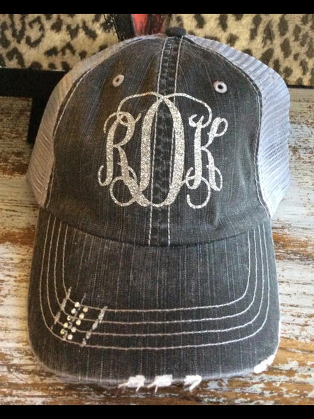 Glitter Monogram Trucker Hat