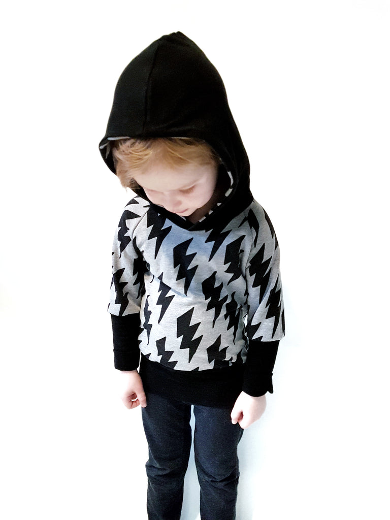 Organic Children's Grow Hoodie | Lightning Bolt