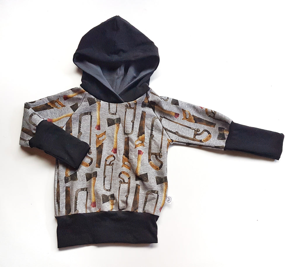 LittleMod Clothing's organic grow with me hand tool hoodie
