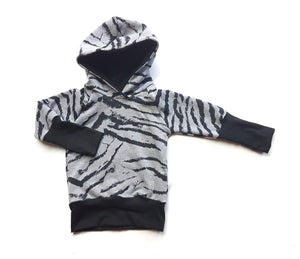 LittleMod Clothing's Organic Zebra Print Hoodie for baby, toddler, and big kids