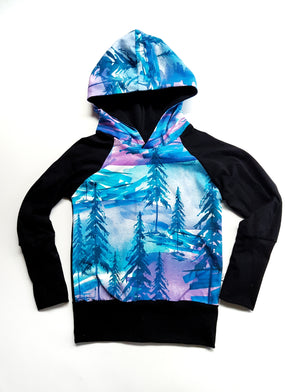 LittleMod Clothing - Grow with me Hoodie - Purple and Blue Trees
