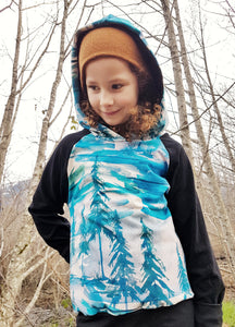 LittleMod Clothing's Watercolour Tree Hoodie for babies, toddlers, and older kids