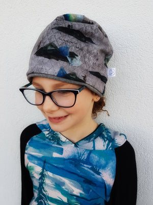 LittleMod Clothing's Watercolour Tree Hoodie in blue and green for babies, toddlers, and older kids