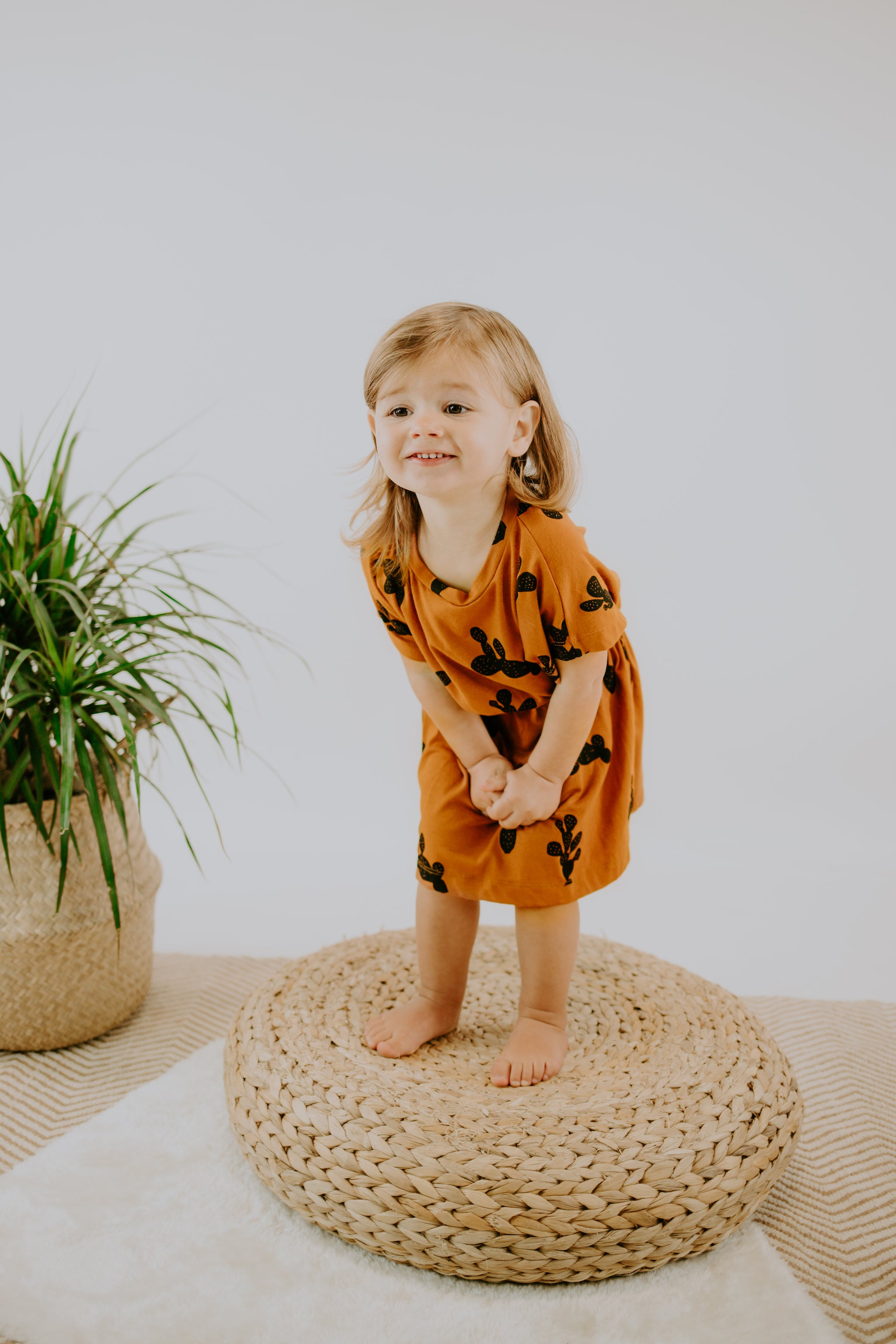 Girl's Cinch Dress | Rust Cactus Print