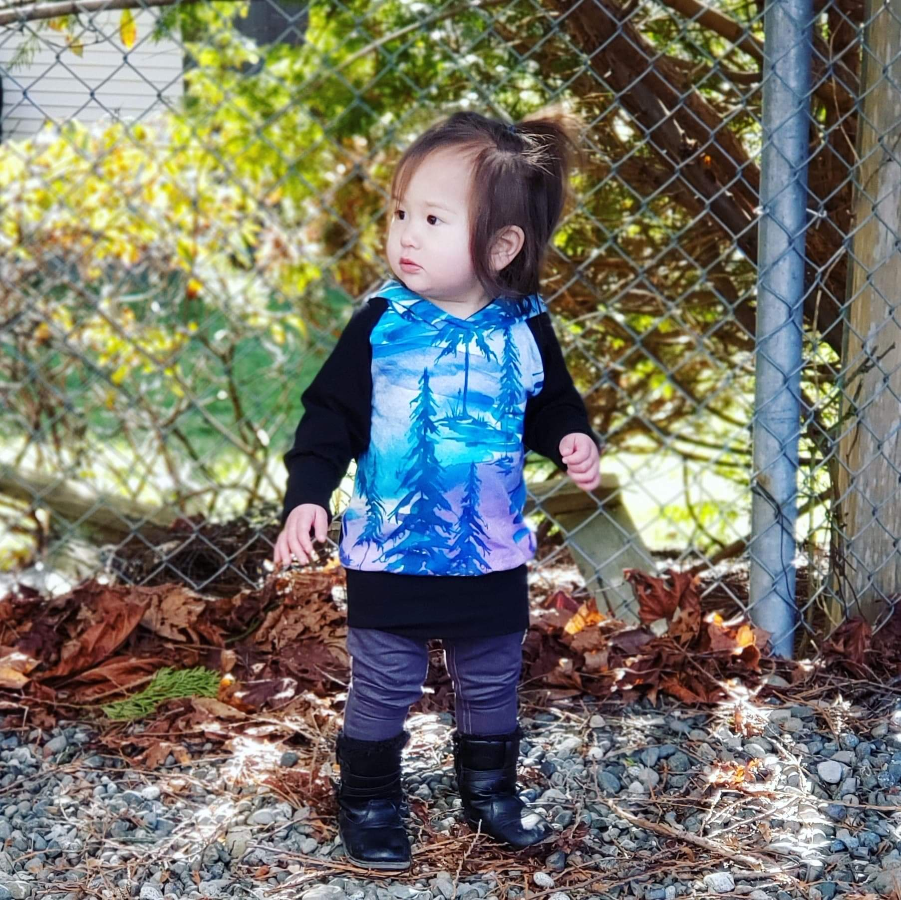 LittleMod Clothing's Watercolour Tree Hoodie for babies, toddlers, and older kids blue and purple