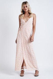 Melody Lace Wrap Maxi Dress Light Peach