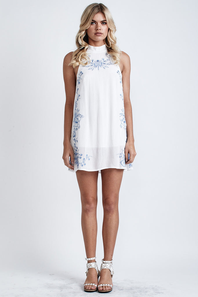 Secret Garden Embroidered Dress White/Blue - Morrisday | The Label - 1