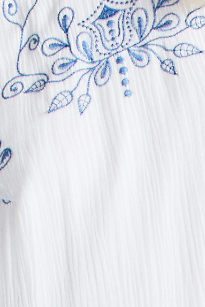 Secret Garden Embroidered Dress White/Blue - Morrisday | The Label - 7