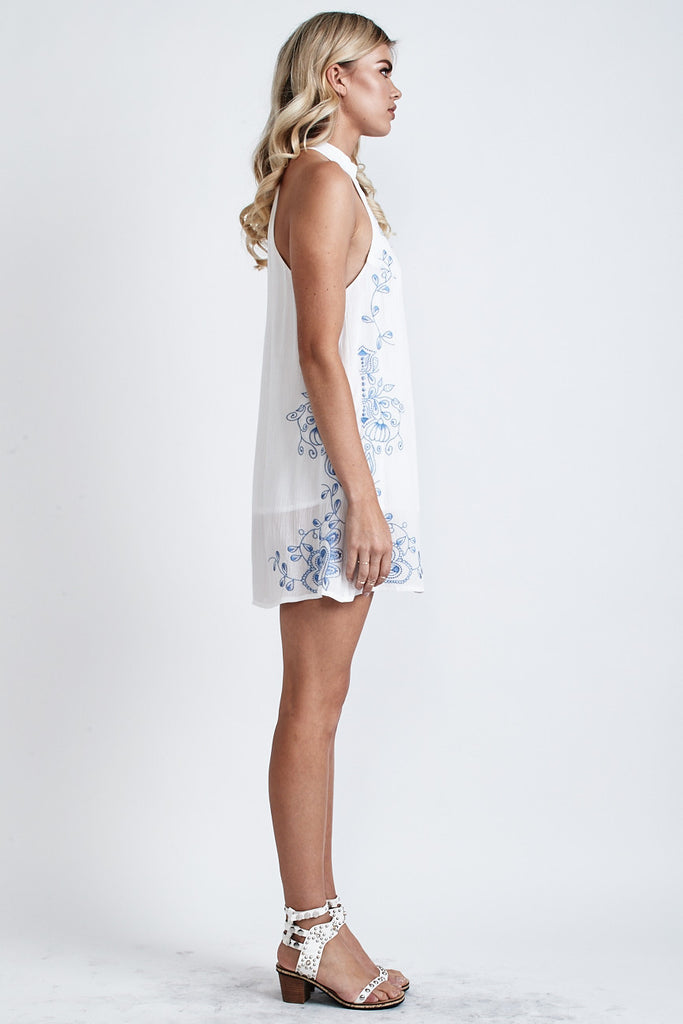 Secret Garden Embroidered Dress White/Blue - Morrisday | The Label - 5