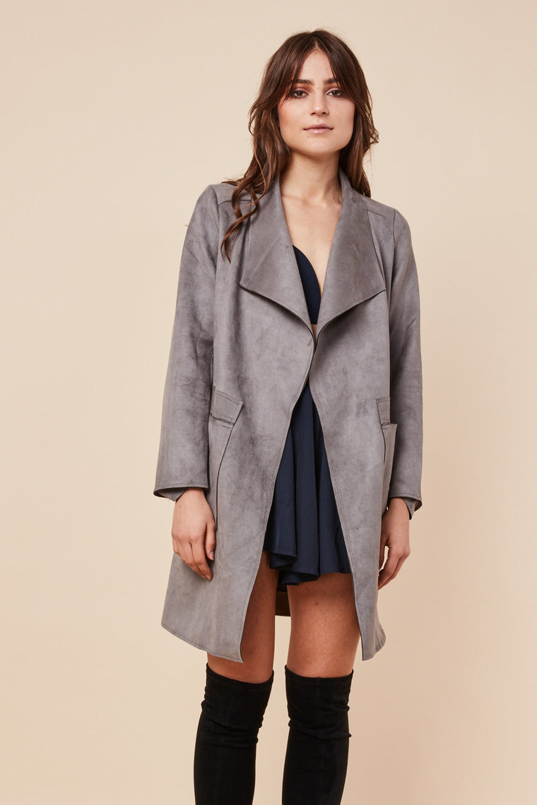 Rumi Suede Coat Grey