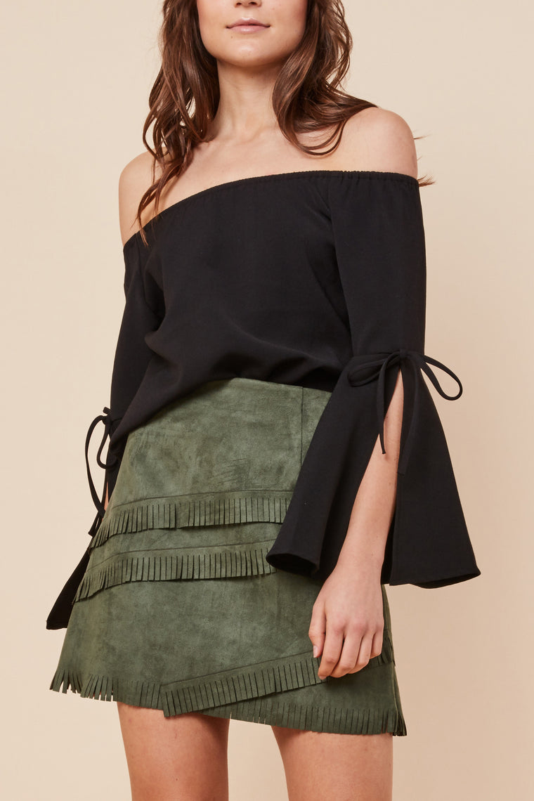 Hailey Off Shoulder Top Black