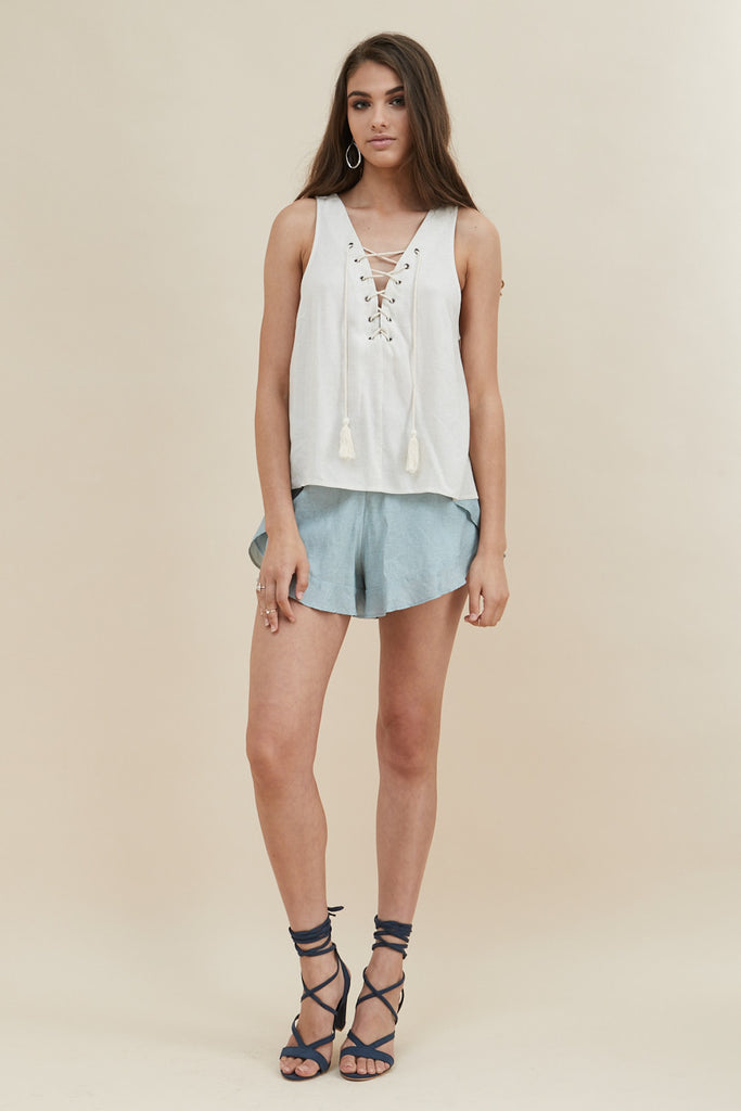 White Dunes Lace Up Top - Morrisday | The Label - 3