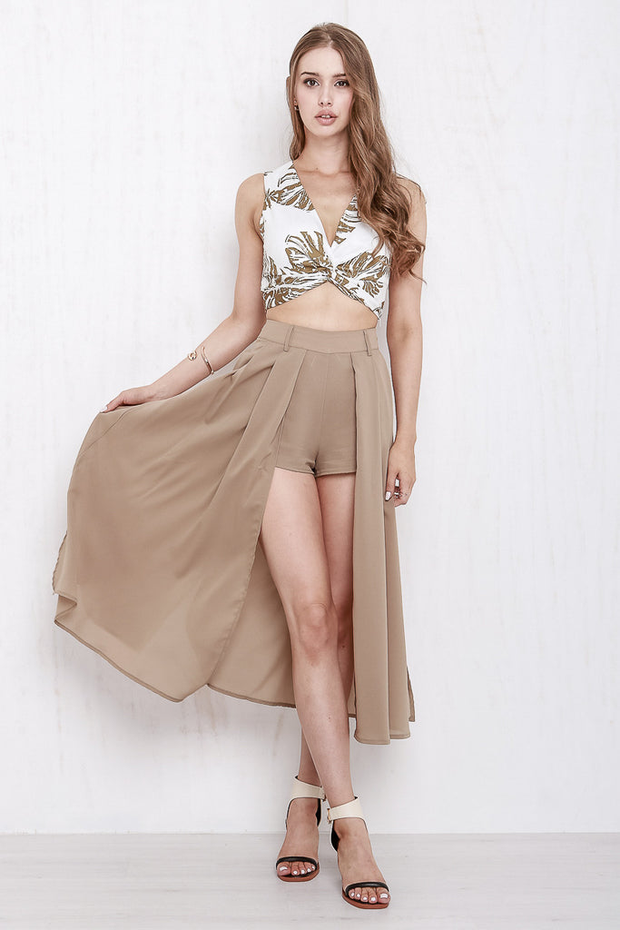 Midnight In Paris Maxi Skort Mocha - Morrisday | The Label - 1